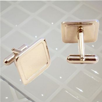 Cufflink Pair Square 16mm silver and clear dome